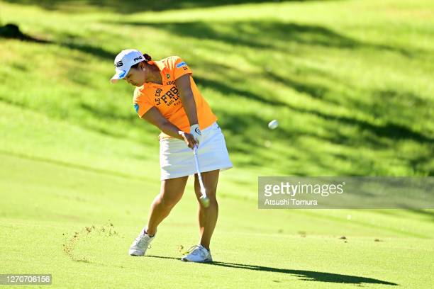Ai Suzuki of Japan hits her second shot on the 3rd hole during the second round of the GOLF5 Ladies Tournament at the GOLF5 Country Mizunami Course...