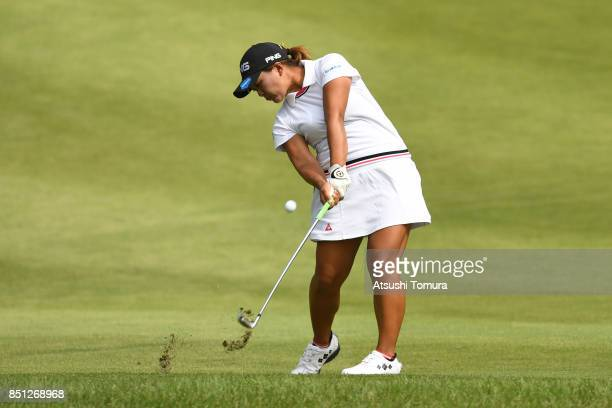 Ai Suzuki of Japan hits her second shot on the 3rd hole during the first round of the Miyagi TV Cup Dunlop Ladies Open 2017 at the Rifu Golf Club on...