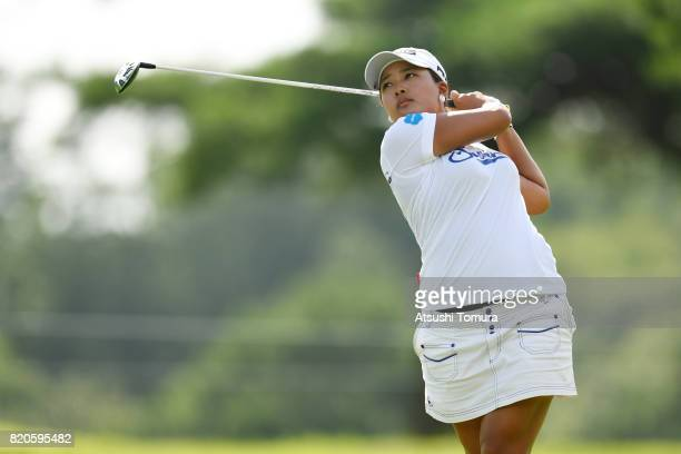 Ai Suzuki of Japan hits her second shot on the 4th hole during the second round of the Century 21 Ladies Golf Tournament 2017 at the Seta Golf Course...