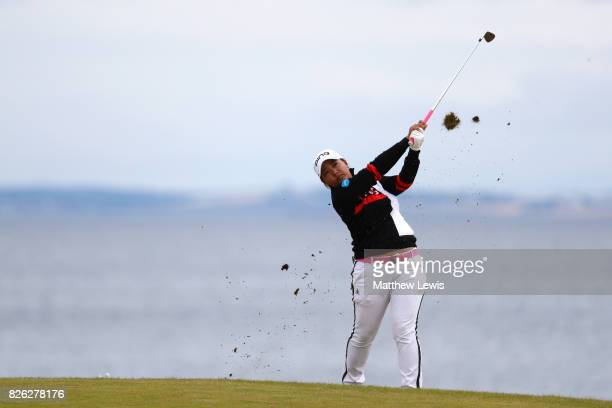 Ai Suzuki of Japan hits her second shot on the 4th hole during the second round of the Ricoh Women's British Open at Kingsbarns Golf Links on August...