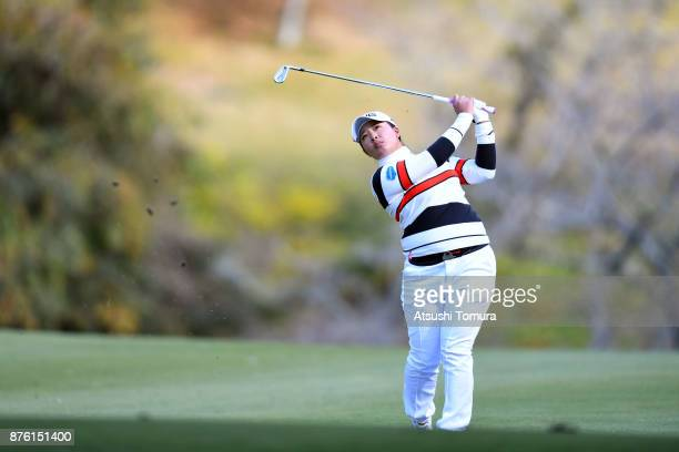 Ai Suzuki of Japan hits her second shot on the 4th hole during the final round of the Daio Paper Elleair Ladies Open 2017 at the Elleair Golf Club on...