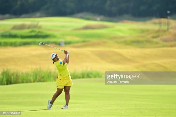 Ai Suzuki of Japan hits her second shot on the 7th hole during the second round of the JLPGA Championship Konica Minolta Cup at the JFE Setonaikai...