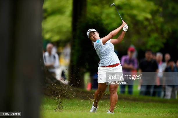 Ai Suzuki of Japan hits her second shot on the 9th hole during the final round of the Nichirei Ladies at Sodegaura Country Club Shinsode Course on...