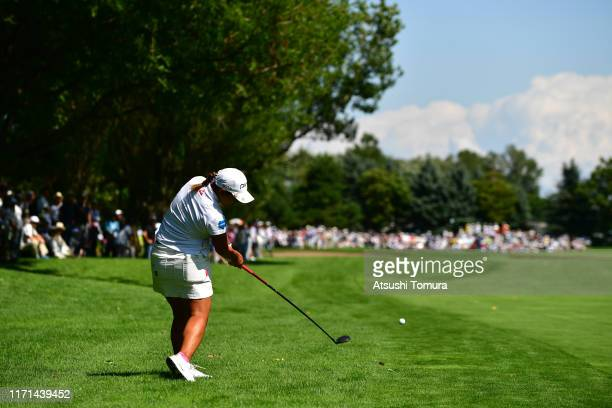 Ai Suzuki of Japan hits her second shot on the 9th hole during the final round of the Nitori Ladies at Otaru Country Club on September 1 2019 in...