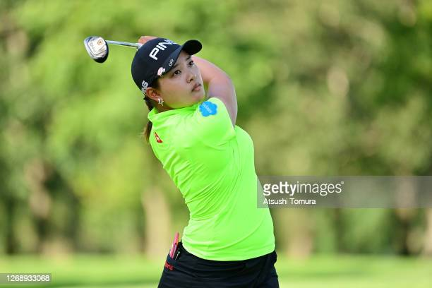 Ai Suzuki of Japan hits her tee shot on the 12th hole during the first round of the Nitori Ladies Golf Tournament at the Otaru Country Club on August...