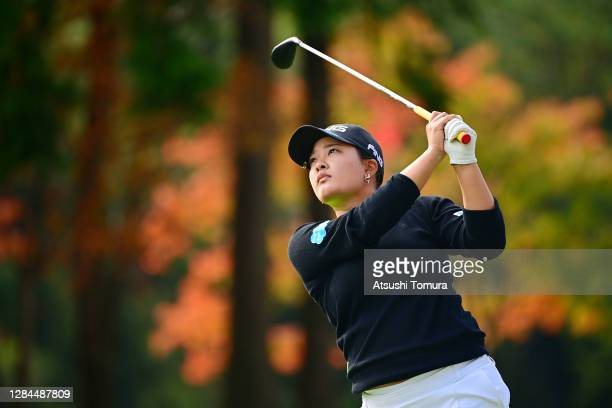 Ai Suzuki of Japan hits her tee shot on the 13th hole during the final round of the TOTO Japan Classic at the Taiheiyo Club Minori Course on November...