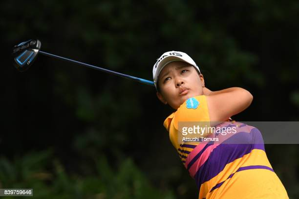 Ai Suzuki of Japan hits her tee shot on the 13th hole during the final round of the Nitori Ladies 2017 at the Otaru Country Club on August 27 2017 in...
