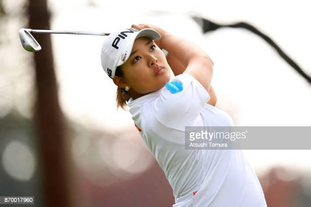 Ai Suzuki of Japan hits her tee shot on the 13th hole during the second round of the TOTO Japan Classics 2017 at the Taiheiyo Club Minori Course on...
