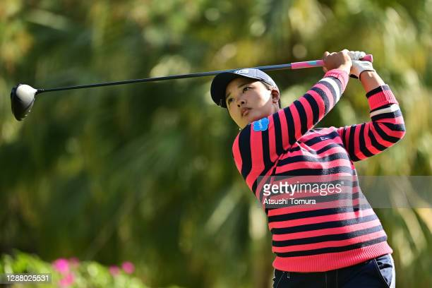 Ai Suzuki of Japan hits her tee shot on the 14th hole during the second round of the JLPGA Tour Championship Ricoh Cup at the Miyazaki Country Club...