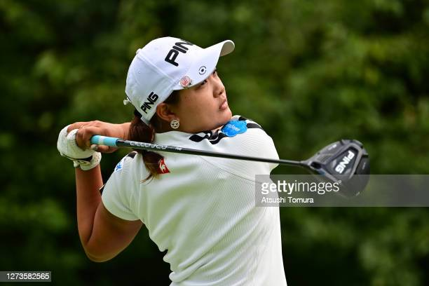 Ai Suzuki of Japan hits her tee shot on the 15th hole during the final round of the Descente Ladies Tokai Classic at the Shin Minami Aichi Country...