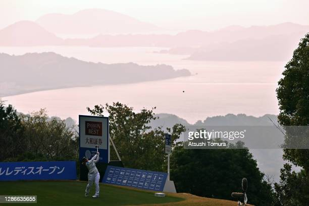 Ai Suzuki of Japan hits her tee shot on the 15th hole during the second round of the Daio Paper Elleair Ladies Open at the Elleair Golf Club...