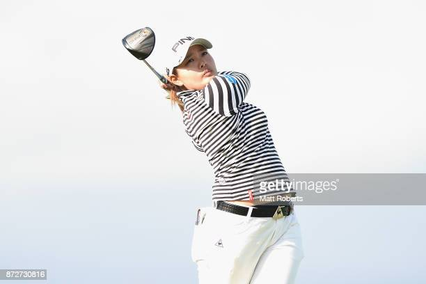 Ai Suzuki of Japan hits her tee shot on the 15th hole during the second round of the Itoen Ladies Golf Tournament 2017 at the Great Island Club on...