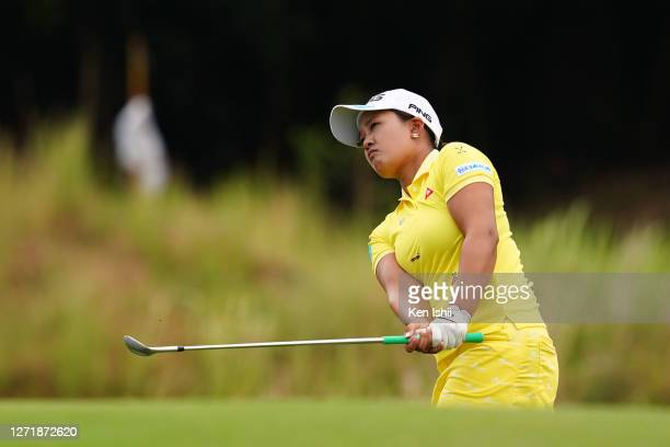 Ai Suzuki of Japan hits her tee shot on the 16th hole during the second round of the JLPGA Championship Konica Minolta Cup at the JFE Setonaikai Golf...