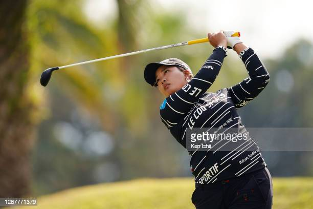 Ai Suzuki of Japan hits her tee shot on the 16th hole during the first round of the JLPGA Tour Championship Ricoh Cup at the Miyazaki Country Club on...