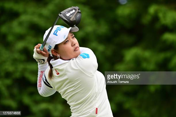 Ai Suzuki of Japan hits her tee shot on the 16th hole during the practice round ahead of the GOLF5 Ladies Tournament at the GOLF5 Country Mizunami...