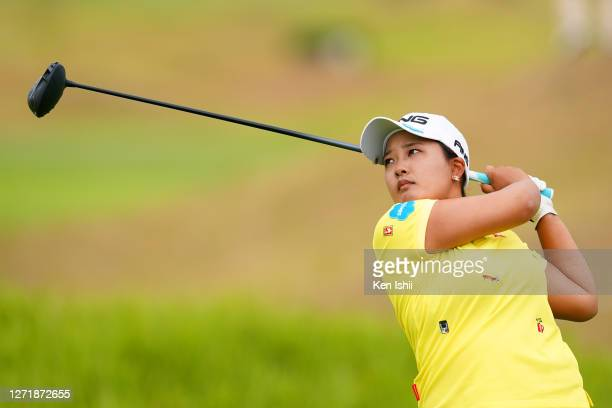 Ai Suzuki of Japan hits her tee shot on the 17th hole during the second round of the JLPGA Championship Konica Minolta Cup at the JFE Setonaikai Golf...
