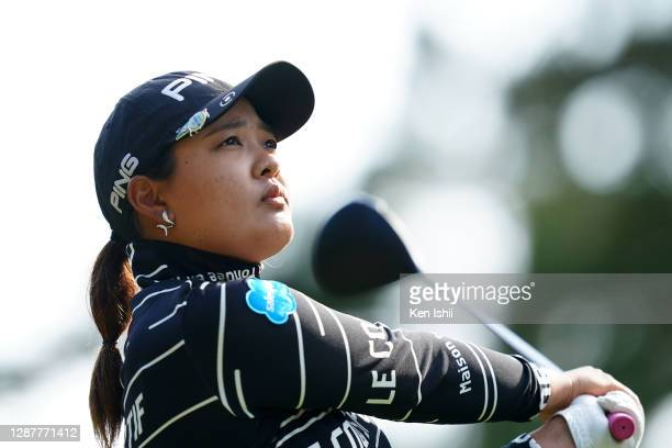 Ai Suzuki of Japan hits her tee shot on the 18th hole during the first round of the JLPGA Tour Championship Ricoh Cup at the Miyazaki Country Club on...