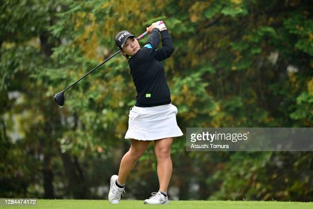 Ai Suzuki of Japan hits her tee shot on the 2nd hole during the final round of the TOTO Japan Classic at the Taiheiyo Club Minori Course on November...