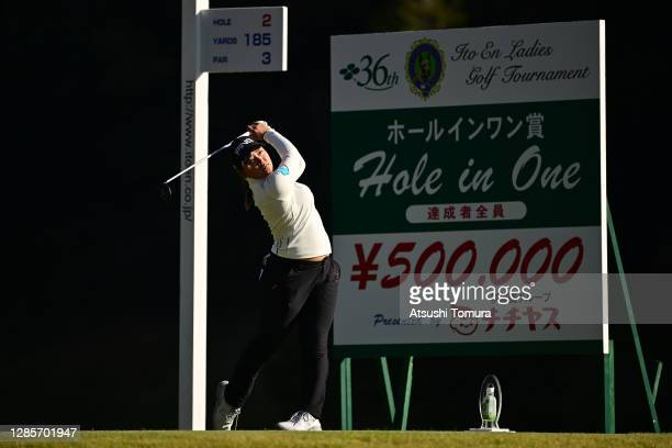 Ai Suzuki of Japan hits her tee shot on the 2nd hole during the final round of the Ito-En Ladies Golf Tournament at the Great Island Club on November...