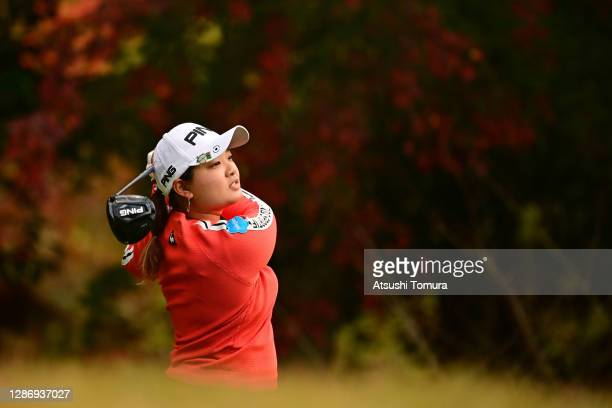 Ai Suzuki of Japan hits her tee shot on the 2nd hole during the final round of the Daio Paper Elleair Ladies Open at the Elleair Golf Club Matsuyama...