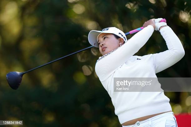 Ai Suzuki of Japan hits her tee shot on the 2nd hole during the final round of the JLPGA Tour Championship Ricoh Cup at the Miyazaki Country Club on...