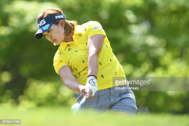 Ai Suzuki of Japan hits her tee shot on the 2nd hole during the final round of the CyberAgent Ladies Golf Tournament at the Grand Fields Country Club...
