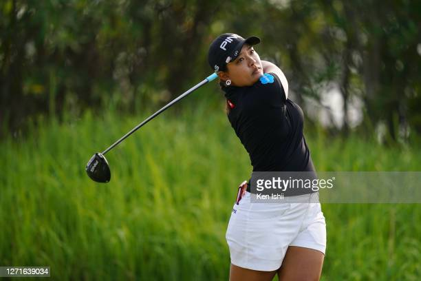 Ai Suzuki of Japan hits her tee shot on the 2nd hole during the first round of the JLPGA Championship Konica Minolta Cup at the JFE Setonaikai Golf...