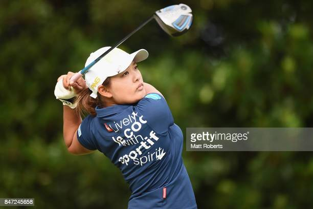Ai Suzuki of Japan hits her tee shot on the 2nd hole during the first round of the Munsingwear Ladies Tokai Classic 2017 at the Shin Minami Aichi...