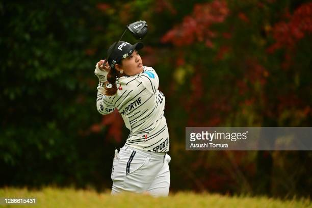 Ai Suzuki of Japan hits her tee shot on the 2nd hole during the second round of the Daio Paper Elleair Ladies Open at the Elleair Golf Club Matsuyama...
