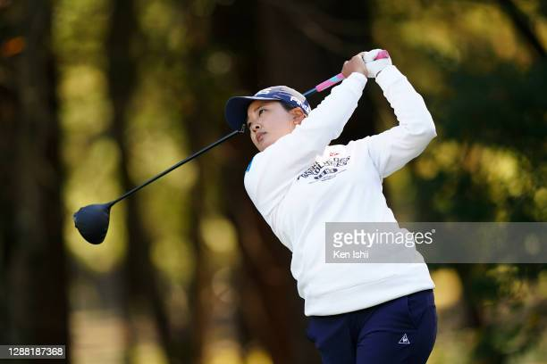 Ai Suzuki of Japan hits her tee shot on the 2nd hole during the third round of the JLPGA Tour Championship Ricoh Cup at the Miyazaki Country Club on...