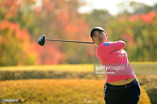 Ai Suzuki of Japan hits her tee shot on the 3rd hole during the first round of the Ito-En Ladies Golf Tournament at the Great Island Club on November...