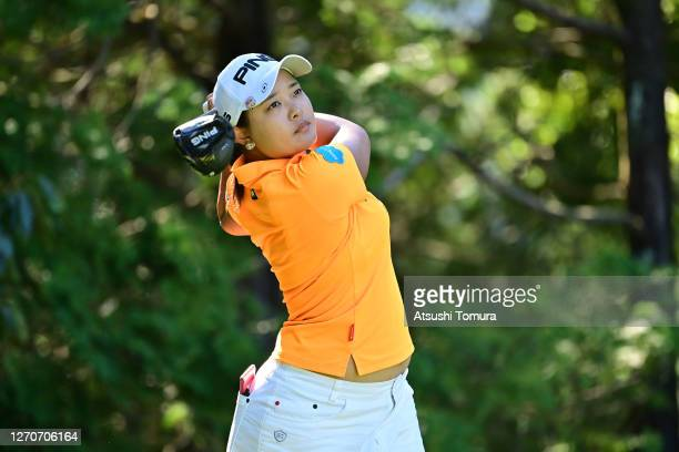 Ai Suzuki of Japan hits her tee shot on the 3rd hole during the second round of the GOLF5 Ladies Tournament at the GOLF5 Country Mizunami Course on...