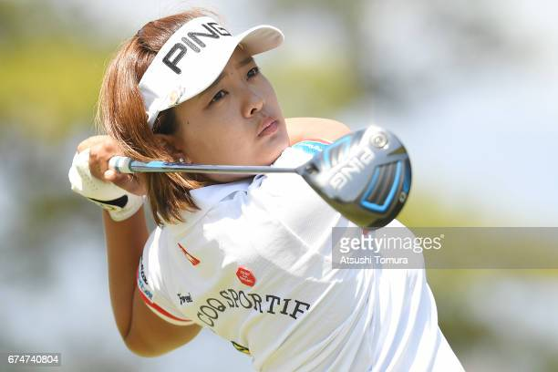 Ai Suzuki of Japan hits her tee shot on the 3rd hole during the second round of the CyberAgent Ladies Golf Tournament at the Grand Fields Country...