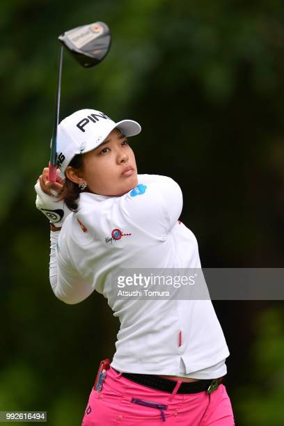 Ai Suzuki of Japan hits her tee shot on the 4th hole during the first round of the Nipponham Ladies Classic at the Ambix Hakodate Club on July 6 2018...