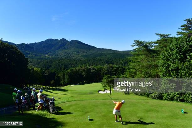 Ai Suzuki of Japan hits her tee shot on the 4th hole during the second round of the GOLF5 Ladies Tournament at the GOLF5 Country Mizunami Course on...