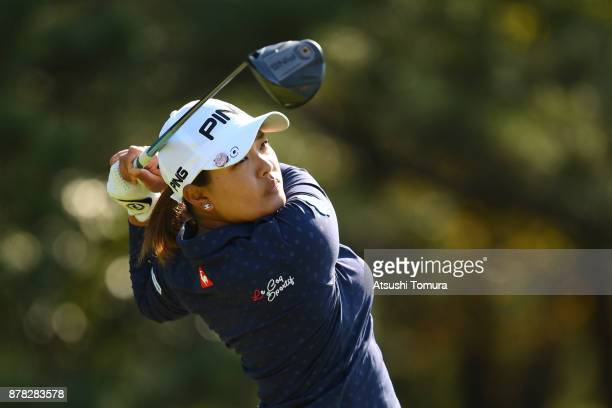 Ai Suzuki of Japan hits her tee shot on the 4th hole during the second round of the LPGA Tour Championship Ricoh Cup 2017 at the Miyazaki Country...