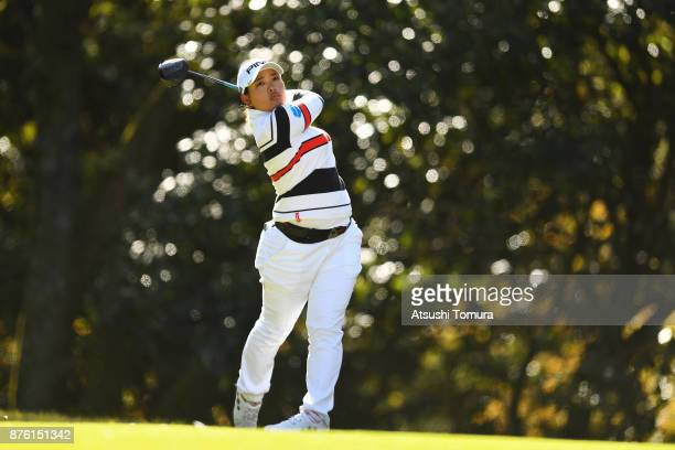 Ai Suzuki of Japan hits her tee shot on the 5th hole during the final round of the Daio Paper Elleair Ladies Open 2017 at the Elleair Golf Club on...