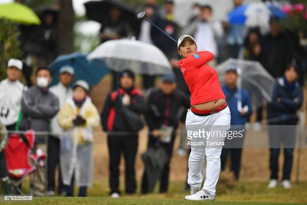 Ai Suzuki of Japan hits her tee shot on the 5th hole during the final round of the LPGA Tour Championship Ricoh Cup 2017 at the Miyazaki Country Club...