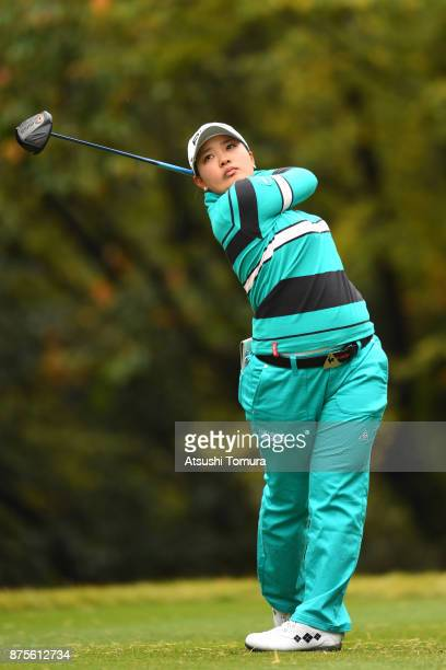 Ai Suzuki of Japan hits her tee shot on the 5th hole during the third round of the Daio Paper Elleair Ladies Open 2017 at the Elleair Golf Club on...