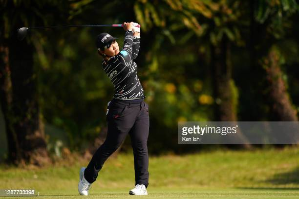 Ai Suzuki of Japan hits her tee shot on the 6th hole during the first round of the JLPGA Tour Championship Ricoh Cup at the Miyazaki Country Club on...