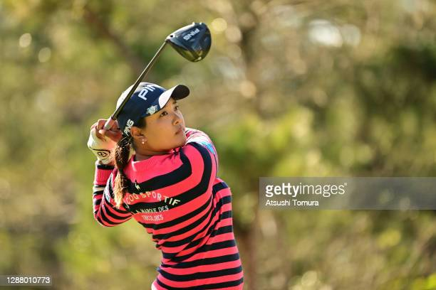 Ai Suzuki of Japan hits her tee shot on the 7th hole during the second round of the JLPGA Tour Championship Ricoh Cup at the Miyazaki Country Club on...
