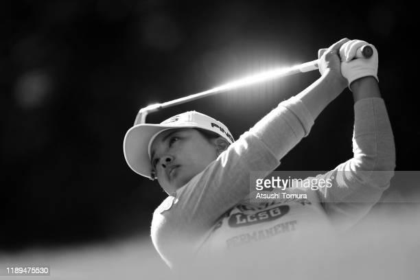 Ai Suzuki of Japan hits her tee shot on the 7th hole during the third round of the Daio Paper Elleair Ladies at Elleair Golf Club Matsuyama on...