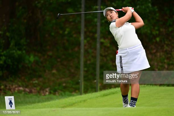 Ai Suzuki of Japan hits her tee shot on the 8th hole during the final round of the Descente Ladies Tokai Classic at the Shin Minami Aichi Country...