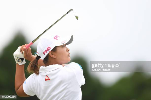 Ai Suzuki of Japan hits her tee shot on the 8th hole during the final round of the Golf 5 Ladies Tournament 2017 at the Golf 5 Country Oak Village on...