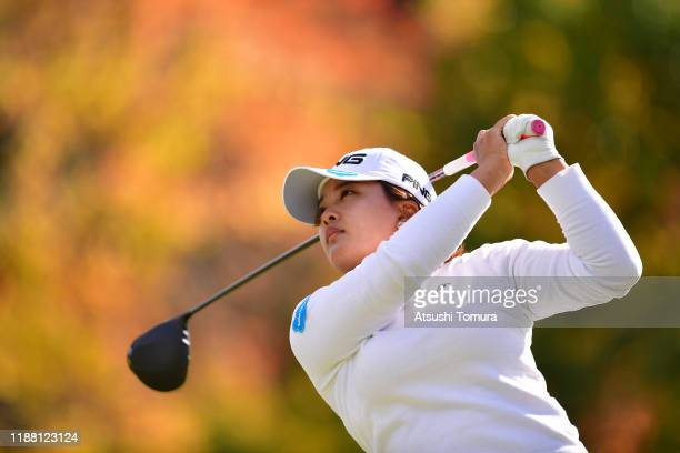 Ai Suzuki of Japan hits her tee shot on the 9th hole during the final round of the ItoEn Ladies at Great Island Club on November 17 2019 in Chonan...