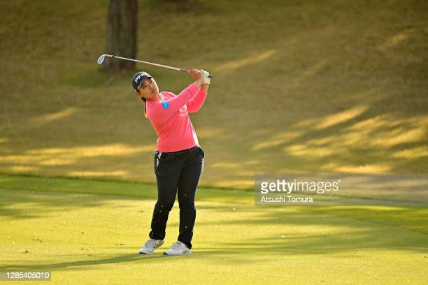 Ai Suzuki of Japan hits her third shot on the 15th hole during the first round of the Ito-En Ladies Golf Tournament at the Great Island Club on...