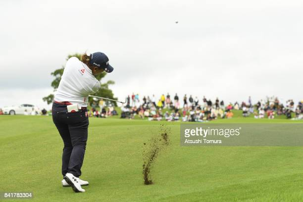 Ai Suzuki of Japan hits her third shot on the 18th hole during the second round of the Golf 5 Ladies Tournament 2017 at the Golf 5 Country Oak...