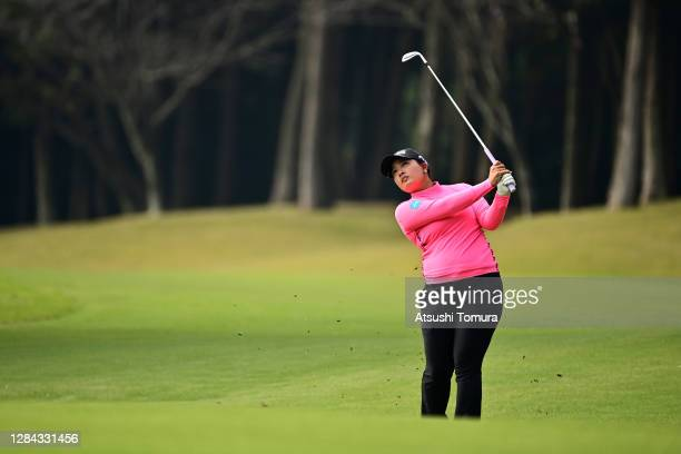 Ai Suzuki of Japan hits her third shot on the 9th hole during the second round of the TOTO Japan Classic at the Taiheiyo Club Minori Course on...