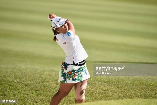 Ai Suzuki of Japan hits out of the bunker on the 18th hole during the first round of the Resorttust Ladies at Kansai Golf Club on May 25 2018 in Miki...