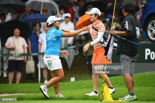 Ai Suzuki of Japan hugs Kana Mikashima after winning the Earth Mondamin Cup at the Camellia Hills Country Club on June 25 2017 in Sodegaura Japan